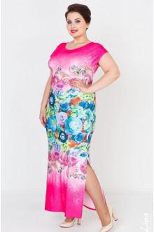 """Платье """"Сандра"""" Лина (Розовый-цветы)"""