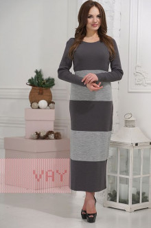 Платье женское 2252 Фемина (Графит/светло-серый меланж)