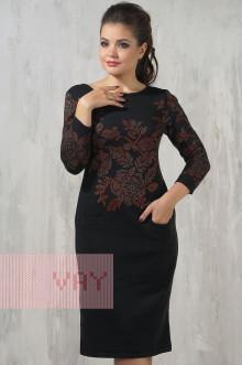 Платье женское 2212 Фемина (Черный/оранжевый/темно-бежевый)